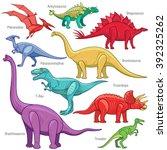 ankylosaurus  brontosaurus ... | Shutterstock .eps vector #392325262