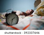 woman with insomnia touching... | Shutterstock . vector #392337646