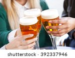 group of friends toasting and... | Shutterstock . vector #392337946