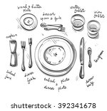 table setting. vector sketch.  | Shutterstock .eps vector #392341678