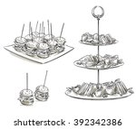 set of snacks on a tray. vector ... | Shutterstock .eps vector #392342386
