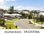 suburban australian street...   Shutterstock . vector #392355586