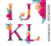 vintage flower alphabet. hand... | Shutterstock .eps vector #392362045
