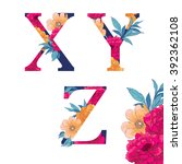 vintage flower alphabet. hand... | Shutterstock .eps vector #392362108