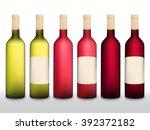 wine bottles vector set. wine... | Shutterstock .eps vector #392372182