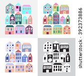 set of cartoon colorful houses... | Shutterstock .eps vector #392373886