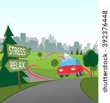 weekend city getaway | Shutterstock .eps vector #392376448