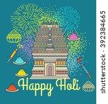 happy holi indian festival of...   Shutterstock .eps vector #392384665