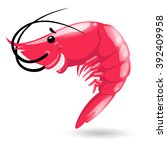 smiling red sea cartoon shrimp... | Shutterstock .eps vector #392409958
