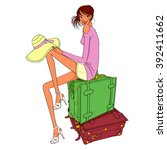 woman traveling alone ...   Shutterstock .eps vector #392411662