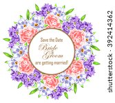 invitation with floral... | Shutterstock .eps vector #392414362