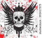skull insignia a skull with a... | Shutterstock .eps vector #392417575