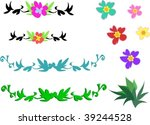 mix of tropical flowers and... | Shutterstock .eps vector #39244528
