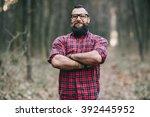 bearded man. lumberjack. | Shutterstock . vector #392445952