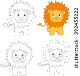 cartoon lion. coloring book and ... | Shutterstock . vector #392455222
