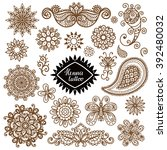 henna tattoo  paisley set.... | Shutterstock .eps vector #392480032
