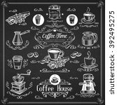 decorative vintage coffee icons....   Shutterstock .eps vector #392495275