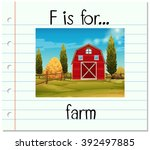 flashcard alphabet f is for... | Shutterstock .eps vector #392497885