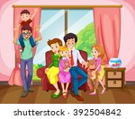 family members in the living... | Shutterstock .eps vector #392504842