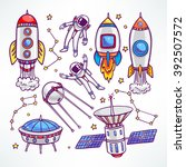 cosmic set with cute rockets... | Shutterstock .eps vector #392507572