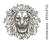 Ink And Pen Drawing  Lion Head...