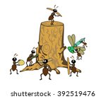 a tree stub and a family of ants | Shutterstock .eps vector #392519476