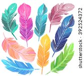 cute hand drawn colorful... | Shutterstock .eps vector #392524372
