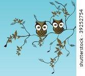 illustration of owls | Shutterstock .eps vector #39252754