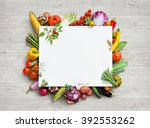healthy food and copy space.... | Shutterstock . vector #392553262