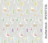 hand drawn pattern of alcohol... | Shutterstock .eps vector #392557156