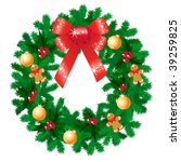 vector christmas wreath | Shutterstock .eps vector #39259825