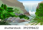 Waterfall And Plant Vector