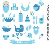 baby boy icons set. childbirth...