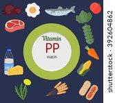 vitamin pp and vector set of... | Shutterstock .eps vector #392604862