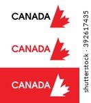 vector canada leaf emblem set... | Shutterstock .eps vector #392617435