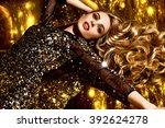 beautiful brown hair girl....   Shutterstock . vector #392624278