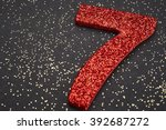 number seven red color over a... | Shutterstock . vector #392687272
