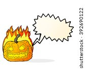 cartoon spooky pumpkin with... | Shutterstock .eps vector #392690122
