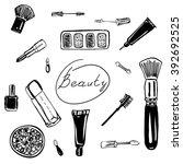 set of elements for makeup.... | Shutterstock .eps vector #392692525