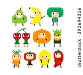 pixel art characters  people in ... | Shutterstock .eps vector #392694316