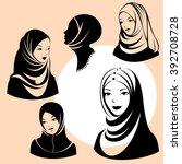 beautiful face of arabic muslim ...   Shutterstock .eps vector #392708728