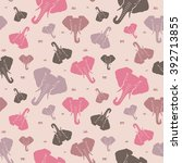 pink elephants on a gentle pink ... | Shutterstock .eps vector #392713855