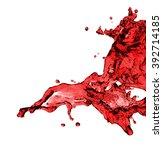 red juice splash closeup... | Shutterstock . vector #392714185