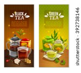two banners set with black and... | Shutterstock .eps vector #392738146