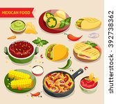 mexican food set with... | Shutterstock .eps vector #392738362