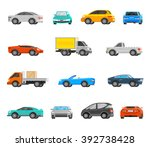 vehicles orthogonal icons set... | Shutterstock .eps vector #392738428