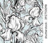 vintage garden flowers vector... | Shutterstock .eps vector #392753098