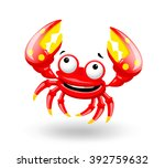 smiling red sea cartoon fun...   Shutterstock .eps vector #392759632