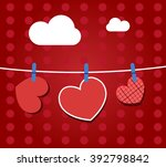 paper hearts hanging from a...   Shutterstock .eps vector #392798842
