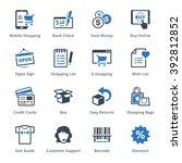 e commerce icons set 3   blue... | Shutterstock .eps vector #392812852